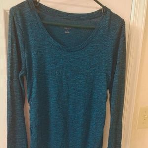 Blue knit maternity shirt